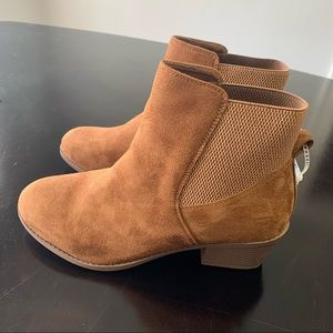 Forever Link Tan Suede Booties Size …
